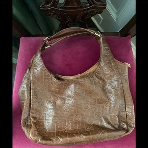 Tory Burch monogrammed brown leather hobo purse